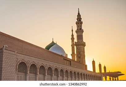 Nabawi mosque in early morning, a holy mosque also called as prophet mosque. Millions moslems from around the world come to the mosque every year.