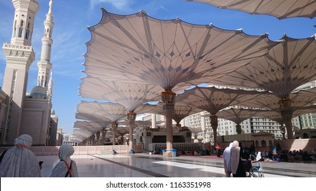 AN NABAWI MOSQUE, MADINA - NOVEMBER, 2017: The view of the retractable roof An Nabawi Mosque.