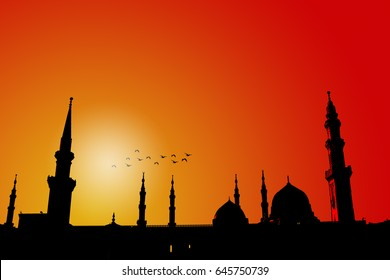 Nabawi mosque silhouette picture editing