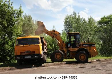 NABEREZHNYE CHELNY - JUNE 2, 2015: Road repairing on Gabdully Tukaya embankment.