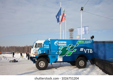 NABEREZHNYE CHELNY, RUSSIA - February 10, 2018: Sports truck KAMAZ of the Team KAMAZ Master at Karting race for the team cup of the Kamaz master