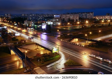 Naberezhnye Chelny, Russia - October 7, 2014: cityscape view from the roof of a skyscraper at night city of Naberezhnye Chelny