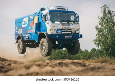 Naberezhnye Chelny, Russia - September 2, 2015: Kamaz-Master, tests trucks at the site on the outskirts of the city in summer