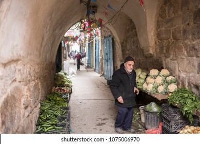 Nablus, Palestine - December 19 2017: The local people are working in the market in old town Nablus.