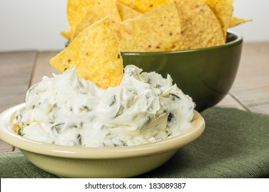 Nacho corn chips with hot pepper cream cheese dip