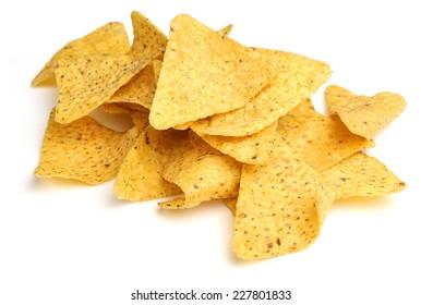 Nacho corn chips on white background