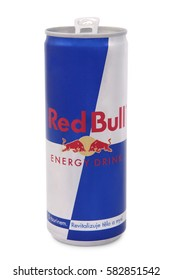 Nachod, Czech Republic February 15 2017: . Red Bull is sold in a tall and slim blue-silver can.'