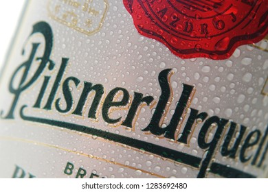NACHOD, CZECH REPUBLIC JANUARY 13, 2019: Pilsner Urquell pale lager beer isolated on white.