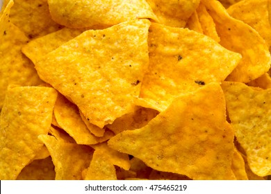 Nachos chips. Corn chips on the bowl.
