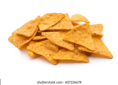 Nachos chips, isolated on white background.