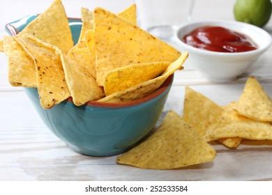 nachos with hot chili salsa