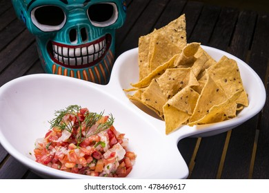 Nachos with Salsa and Mexican skull