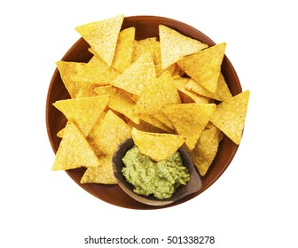 Nachos and salsa. Tortilla chips and guacamole sauce on wooden plate isolated on white background, top view