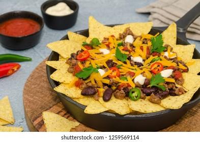 Nachos supreme. Mexican food nachos. Delicious homemade nachos