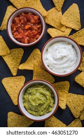 nachos with three dips, from above