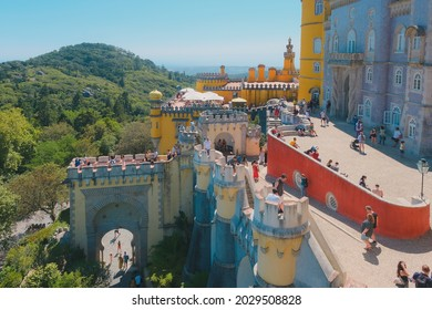 The Palácio Nacional da Pena is located in the village of Sintra, parish of São Pedro de Penaferrim, municipality of Sintra, in the district of Lisbon, in Portugal. August 2021