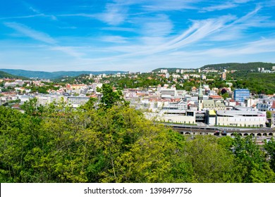 Ústí nad Labem, Czechia - May 5 2019: a  view of the city centre from Vetruše hill lookout