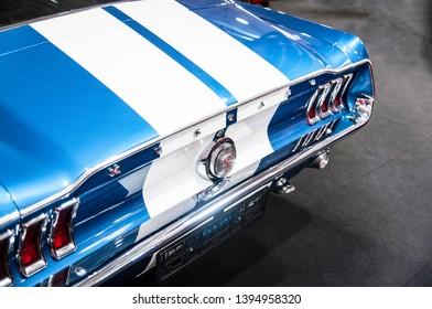 Nadarzyn, Poland - 05/11/2019: Ford Mustang at Warsaw Oldtimer Show 2019