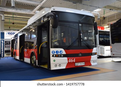 Nadarzyn, Poland - March, 13, 2019: Autosan Sancity 12 LF CNG bus on the motor show.