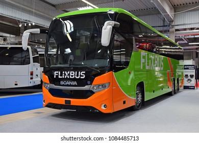 Nadarzyn, Poland - March, 22, 2018: Intercity bus Scania Interlink on the motor show.