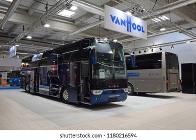 Nadarzyn, Poland - March, 22, 2018: Intercity bus Van Hool TX 16 Astron on the motor show.