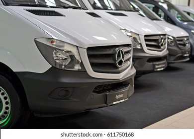 Nadarzyn, Poland - March, 23, 2017: Mercedes Sprinter parking in a row during presentation on Motor Show.