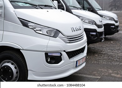 Nadarzyn, Poland - March, 23, 2018: Iveco Daily cars parking in a row during presentation on Motor Show.