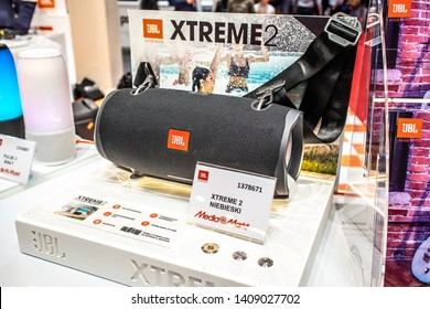 Nadarzyn, Poland, May 11, 2019: JBL best sounding portable Bluetooth speakers at JBL exhibition pavilion showroom, stand at Warsaw Electronics Show