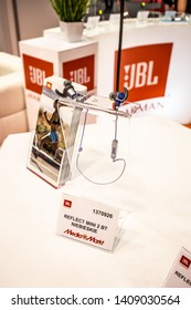 Nadarzyn, Poland, May 11, 2019: JBL best sounding Wireless in-ear, on-ear Headphones, Earbuds at JBL exhibition pavilion showroom, stand at Warsaw Electronics Show