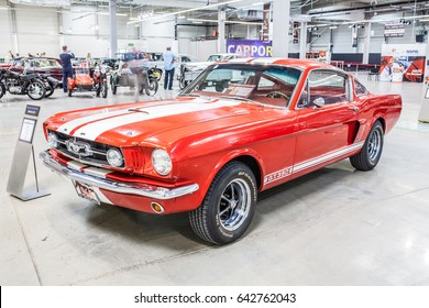 Nadarzyn, Poland, May 13, 2017 Warsaw Oldtimer Show: Ford Mustang GT 350 1965, glossy and shiny old classic retro oldtimer muscle car