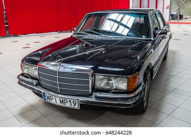 Nadarzyn, Poland, May 13, 2017 Warsaw Oldtimer Show: Mercedes Benz 450 SEL glossy and shiny old classic retro youngtimer car