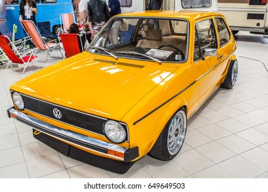 Nadarzyn, Poland, May 13, 2017 Warsaw Oldtimer Show: VW Volkswagen Golf MK I 1977, glossy and shiny old classic retro auto