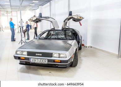 Nadarzyn, Poland, May 13, 2017 Warsaw Oldtimer Show: Delorean DMC-12 car from 1980s movie film Back To he Future