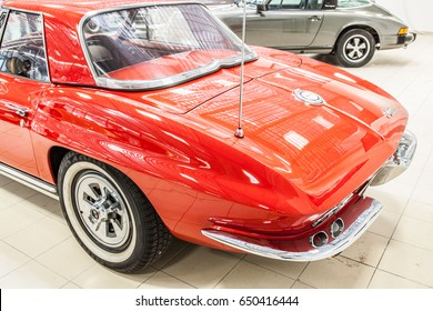 Nadarzyn, Poland, May 13, 2017 Warsaw Oldtimer Show: Corvette C2 Stingray Cabriolet glossy and shiny old classic retro oldtimer