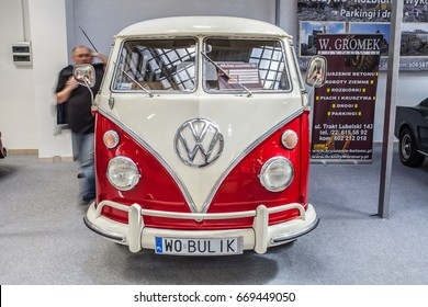 Nadarzyn, Poland, May 13, 2017 Warsaw Oldtimer Show: bus VW Volkswagen Transporter glossy and shiny old classic retro oldtimer van