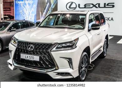 Nadarzyn, Poland, November 16, 2018: metallic white LEXUS LX 570 at Warsaw Motor Show, suv produced by Japanese car maker Lexus