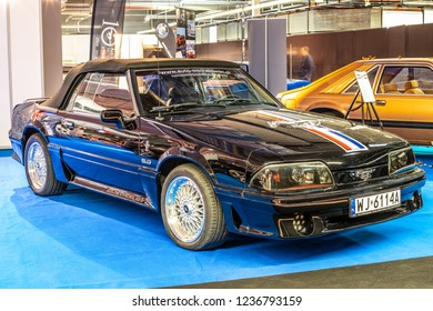 Nadarzyn, Poland, November 16, 2018: old classic Ford Mustang GT 1988 Third generation at Warsaw Motor Show, produced by American multinational automaker Ford Motor Company