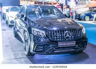 Nadarzyn, Poland, November 16, 2018: Mercedes-AMG GLC 63 S 4MATIC+ Coupe at Warsaw Motor Show,  sport SUV car produced by Mercedes AMG