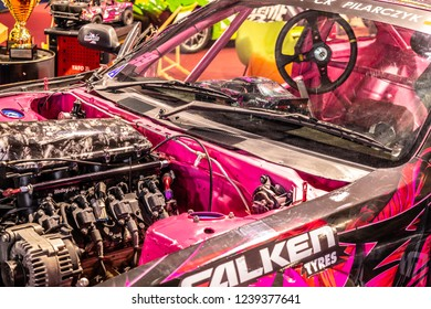 Nadarzyn, Poland, November 16, 2018: Karolina Pilarczyk drift car Predator YT615k Nissan 200sx s14a with LSX 376 V8 engine and Vortech V2 compressor at Warsaw Motor Show