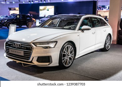 Nadarzyn, Poland, November 16, 2018: metallic white all new Audi A6 Avant 50 TDI quattro combi at Warsaw Motor Show, station wagon produced by German automobile manufacturer Audi AG