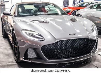 Nadarzyn, Poland, November 16, 2018: silver Aston Martin DBS Superleggera at Warsaw Motor Show, British super grand tourer manufactured by UK automotive manufacturer Aston Martin