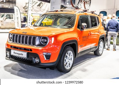 Nadarzyn, Poland, November 16, 2018: metallic red Jeep Renegade at Warsaw Motor Show, subcompact crossover SUV produced by Jeep