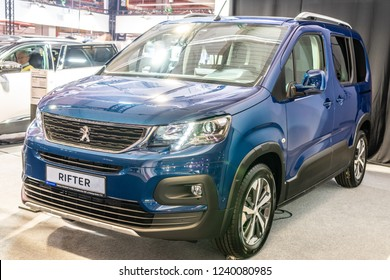 Nadarzyn, Poland, November 16, 2018: metallic blue all-new Peugeot Rifter Allure at Warsaw Motor Show- car produced by Peugeot - French car manufacturer, part of Groupe PSA