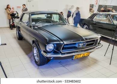 Nadarzyn, Poland, November 20, 2016, Warsaw Moto Show: Ford Mustang 1967 coupe