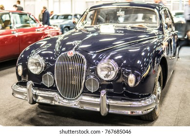 Nadarzyn, Poland, October 27, 2017 Warsaw Moto Show: Jaguar Mark I 1959, MK1, British  luxury saloon car, glossy and shiny old classic retro oldtimer,