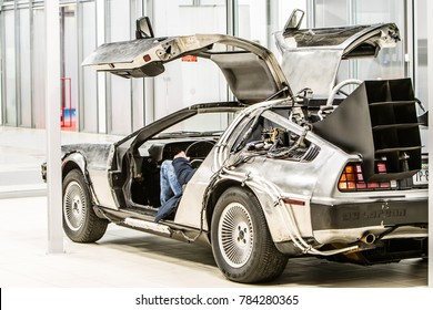 Nadarzyn, Poland, October 27, 2017 Warsaw Moto Show: Delorean DMC-12 car from 1980s movie film Back To the Future, outatime, Time Machine