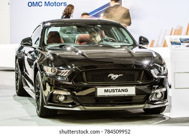 Nadarzyn, Poland, October 27, 2017: metallic black Ford Mustang at Warsaw Moto Show, produced by American multinational automaker Ford Motor Company