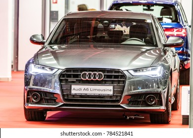 Nadarzyn, Poland, October 27, 2017: metallic graphite gray Audi A6 Limousine at Warsaw Moto Show, produced by German automobile manufacturer Audi AG