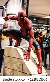"""Nadarzyn, Poland, October 27, 2018: Marvel Spider-Man statue promoting feature film movie """"Spider-Man: Homecoming"""" at Warsaw Comic Con,"""