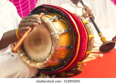 nadaswaram and thavil musical instrument in Hindu Wedding, Tamil Nadu, India